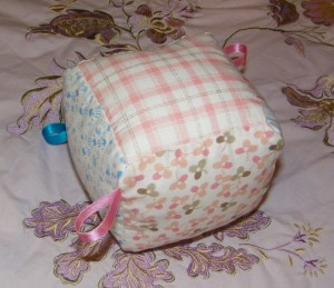 Toy Fabric Cube with Ribbon Tags
