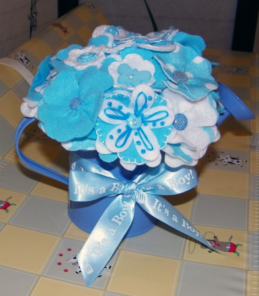It's a Boy! Lissylane Felt Flower Baby Bouquet