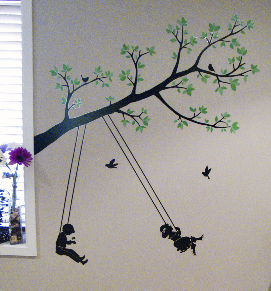 Wall Decal of a Tree with Children Swinging
