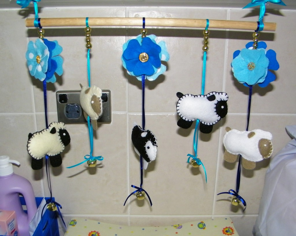 Felt Sheep and Flower Mobile