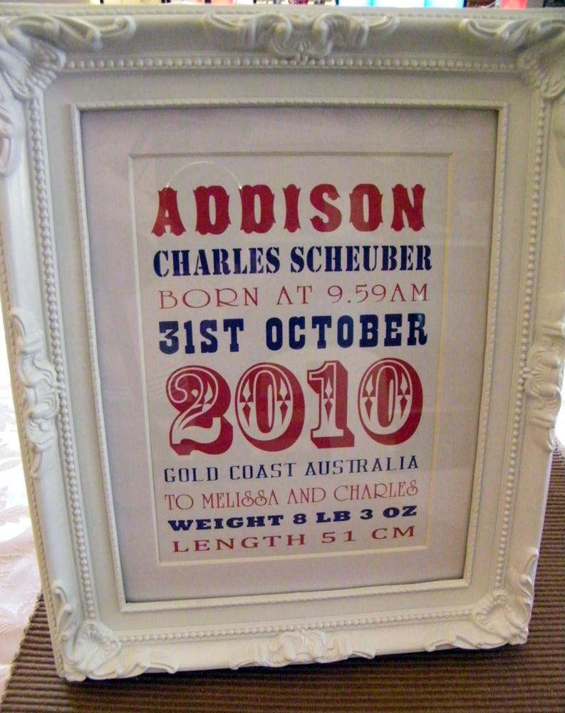 Addison's Birth Details