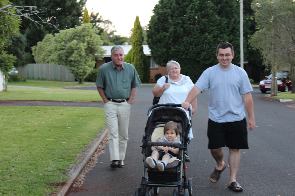Granddad, Gran, Daddy and Addi Walking to the Park for Dinner