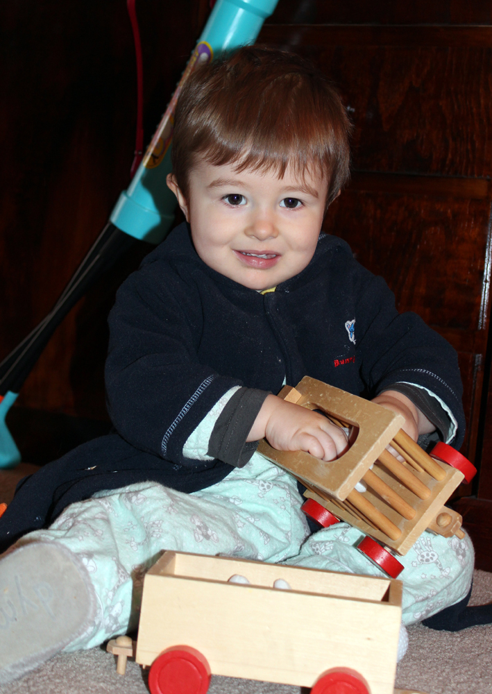 Early Morning Play Time with his Train