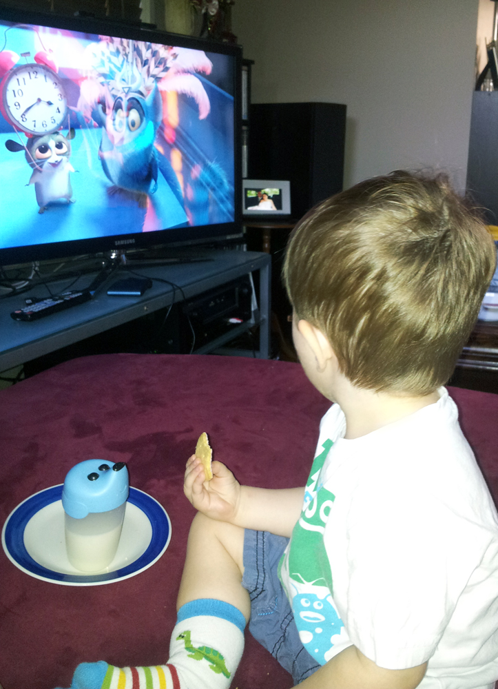 Addi having some Afternoon Tea and Watching Madagascar 3